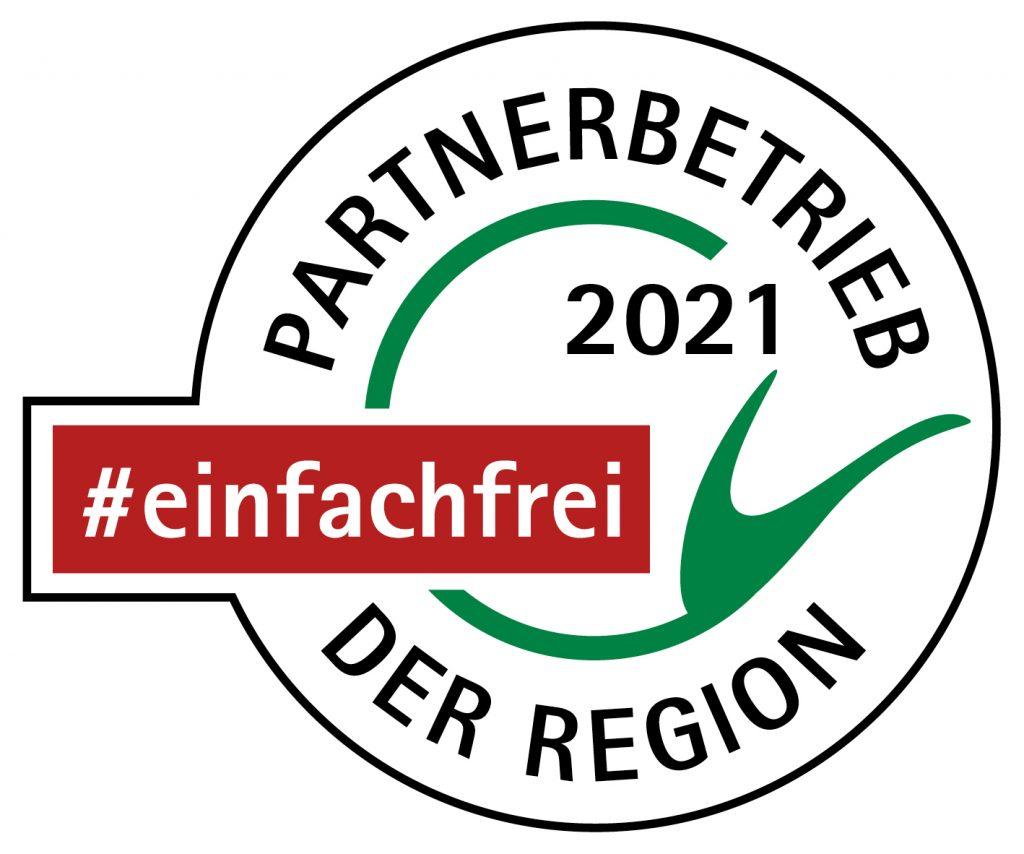 Partnerbetrieb 2021 der Region - Hier fühlen wir uns #einfachfrei