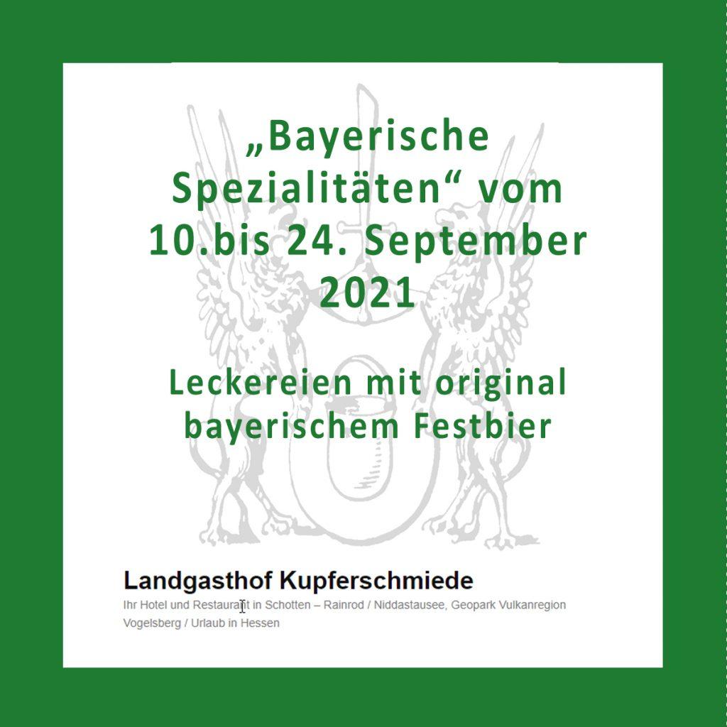 """""""Bayerische Spezialitäten"""" vom 10. bis 24. September 2021"""